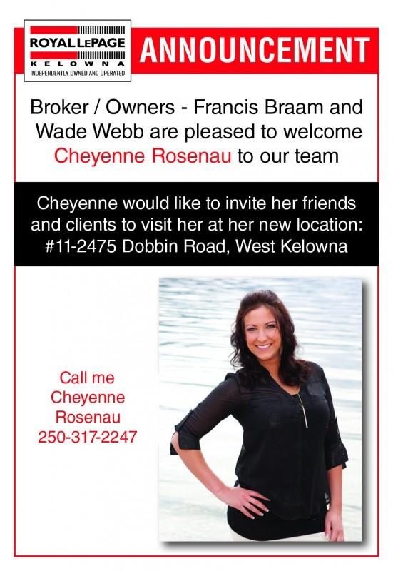Announcement - Cheyenne Roseneau