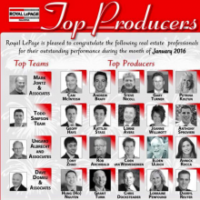 Congratulations to the top professionals of Royal Lepage Kelowna Jan 2016