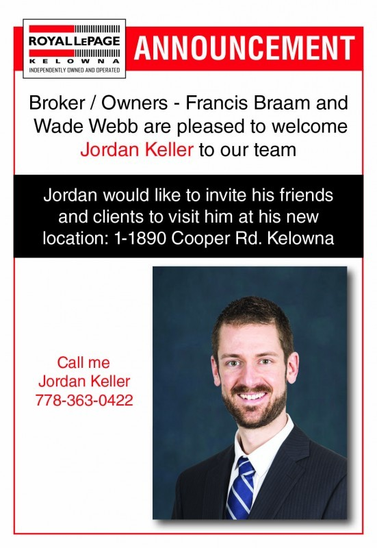 Annoucement - Keller, Jordan