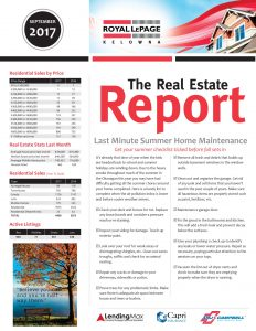 Royal LePage Real Estate Report - September 2017 for Kelowna and Area
